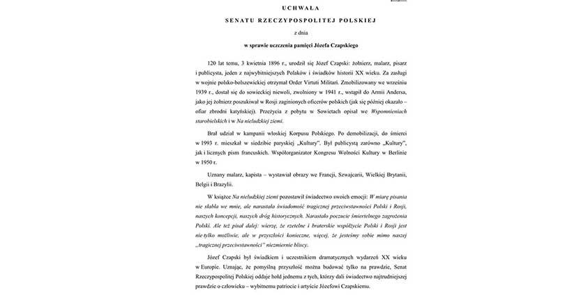 Józef Czapski - uchwała senatu