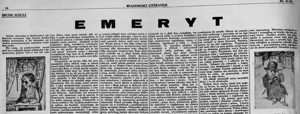 zdjęcie a na nim wycinek z Wiadomości Literackich z tekstem Bruno Schlza pt. Emeryt i z rusunkami, czarno-białe
