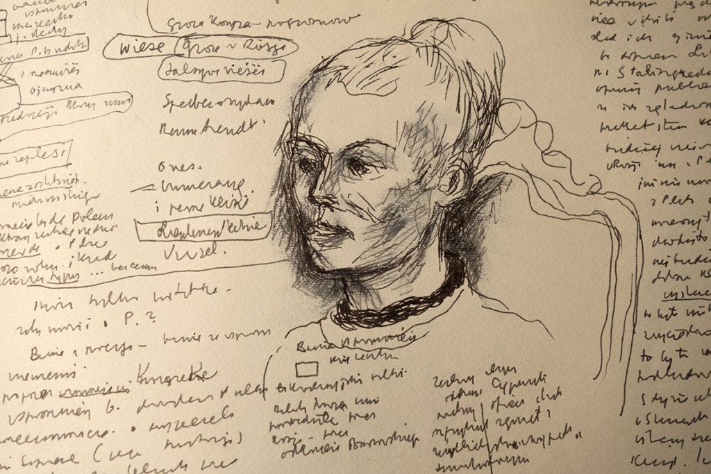 Karta z dziennika Józefa Czapskiego, na niej rysunek. Twarz Ludmiły Murawskiej.